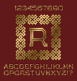 golden angular letters and numbers of two stripes vector image vector image