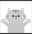 gray cat ready for a hugging open hand pink paw vector image
