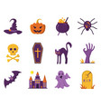 halloween icons in flat style vector image