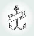 Hand Drawn Anchor with ribbon vector image vector image