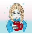 Hand drawn beautiful cute girl with coffee vector image