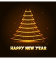 Happy New Year with Xmas tree vector image vector image