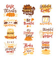 happy thanksgiving text logo lettering vector image