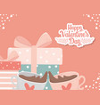 happy valentines day decoration gift boxes and vector image vector image