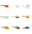 helicopter military aircraft icons set flat style vector image vector image