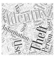 identity theft video Word Cloud Concept vector image vector image