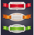 Labels of quality with color ribbon vector image vector image