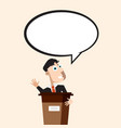 man on conference with empty speech bubble vector image vector image