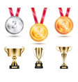 medals collection and trophies vector image