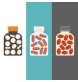 medicine bottle with tablets inside vector image vector image