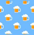 mug beer with foam oktoberfest seamless pattern vector image vector image