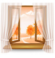 nature autumn background with wooden window frame vector image vector image