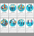 office work and teamwork set vector image vector image