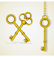 old golden key dangling chain links vector image vector image