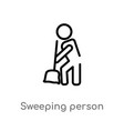 outline sweeping person icon isolated black vector image vector image
