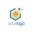 polygon data digital technology logo vector image vector image