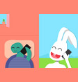 rabbit talk with tortoise smart phone vector image vector image