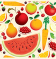 seamless pattern with various fruits and berries vector image vector image