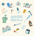 set medical checkup and healthy lifestyle items vector image