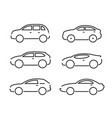 set of black cars icons - stock collection vector image