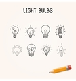 set of Hand-drawn light bulbs doodle icons vector image vector image