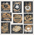 set of stamps on the theme of coffee vector image vector image