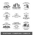 set vintage camping labels vector image