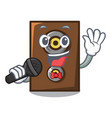 singing speaker mascot cartoon style vector image