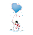 snowman with love balloon vector image vector image