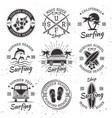 surfing set nine black vintage emblems vector image vector image