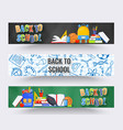 three horizontal back to school banners backpack vector image vector image