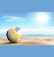volleyball ball on sandy beach background vector image