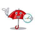 with clock red umbrellas isolated in a mascot vector image