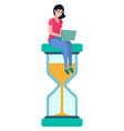 woman sitting on sand glass clock worker vector image vector image