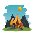 young man in camping zone vector image vector image