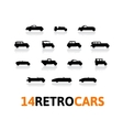 Retro icons set different silhouette shape cars vector image