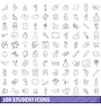 100 student icons set outline style vector image