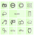 14 black icons vector image vector image