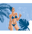 a woman on the beach in summer in a swimsuit vector image vector image