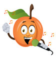 apricot singing on microphone on white background vector image vector image