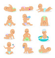 baby newborn infant child playing with vector image vector image