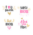 best mom lettering mothers day logo isolated for vector image vector image