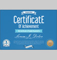 blue certificate or diploma template 2 vector image vector image