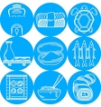 blue round line icons for japanese menu vector image vector image