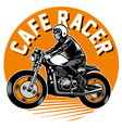 cafe racer motorcycle badge vector image vector image