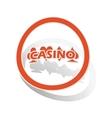 Casino sign sticker orange vector image