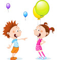 children with balloons - cartoon vector image vector image