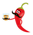 chilli pepper with tequila cup comic character vector image vector image