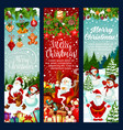 christmas banner with new year holiday characters vector image