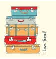 collection retro suitcases love travel concept vector image